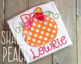 Girl Pumpkin Shirt, Polkadot Pumpkin with Bow Onesie or Shirt