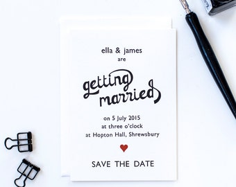 Vintage letterpress heart wedding save the date card with envelope