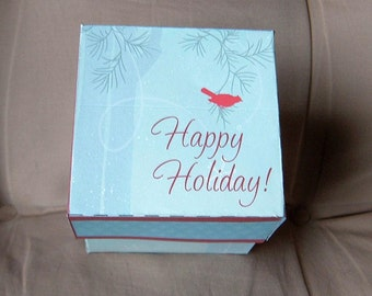 Gift Box Template Happy Holiday Redbird DIY Pattern PDF Instant Download