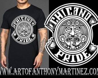 Chicano Pride Black Tshirt, Lowrider Art Apparel, Chicano Art, Aztec Calendar Unique!