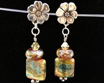 Awesome Earrings, Swarovski Crystals, Dangles 2.5in, Lamp-work beads