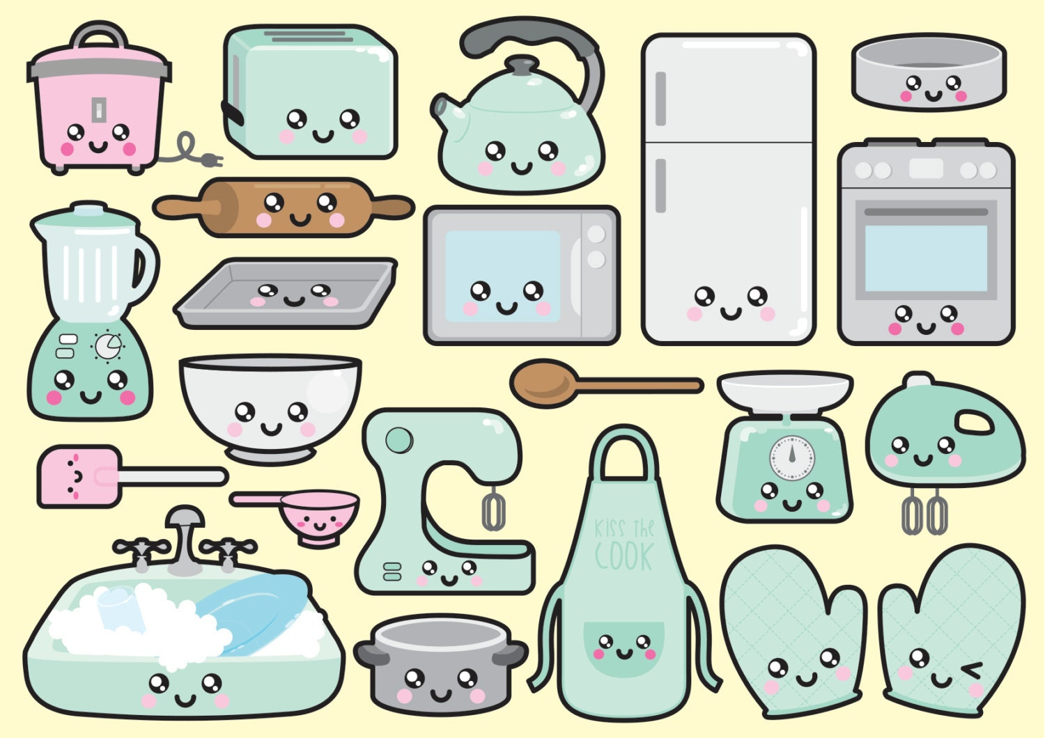 Premium vector clipart kawaii kitchen clipart kawaii - Stickers cuisine enfant ...