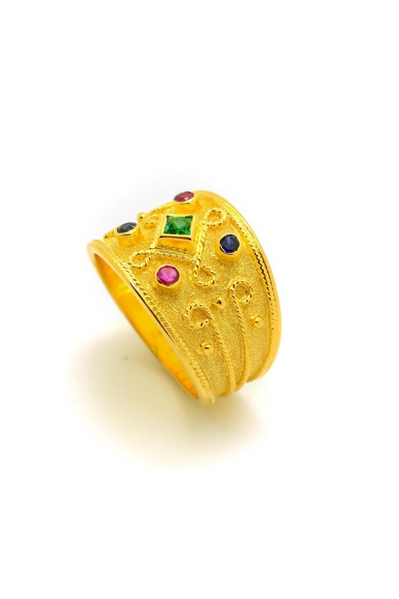 Breiter goldring mit stein  Breiter Goldring byzantinische Ring 18K 18K Solid Gold Ring