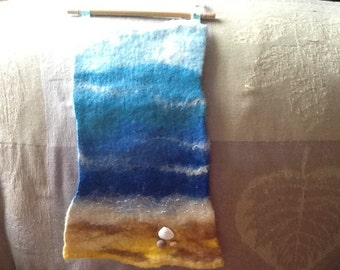 Felted seascape wall hanging