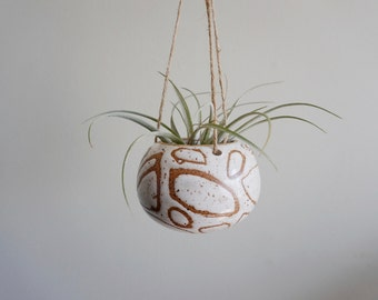 Made to Order | Small ceramic hanging planter, one of a kind, white pebble design, air plant pot by Mud to Life