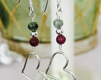 Tourmaline Gemstone and Sterling Silver Heart Dangle Earrings