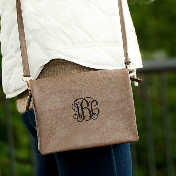 Monogrammed Cross Body Purse - Taupe