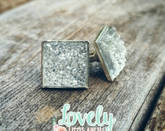 Crystal clear druzy square studs. 12mm in silver plated setting