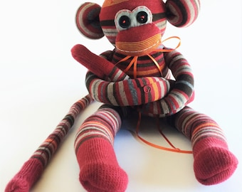 Sock Monkey-Burgundy, Grey,Orange-Striped-Handmade-Monkey-Plushie-Plush-Stuffed Animal-Cuddly