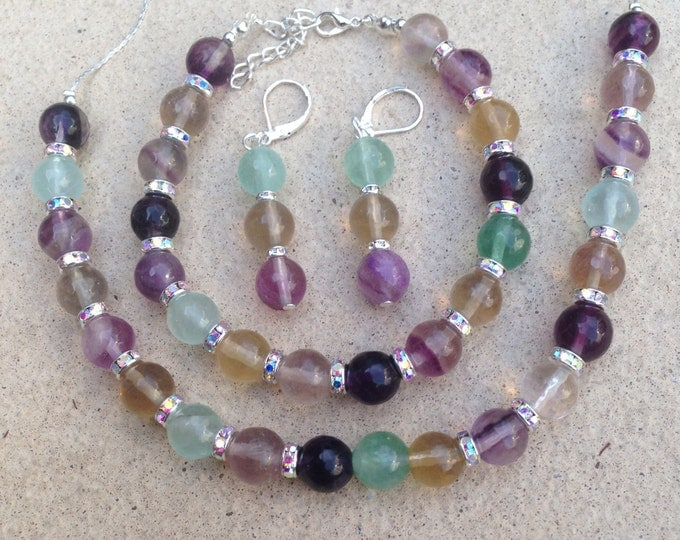 Fluorite jewellery set, fluorite necklace, fluorite bracelet, fluorite earrings, silver and fluorite jewelry, fluorite and rhinestones,