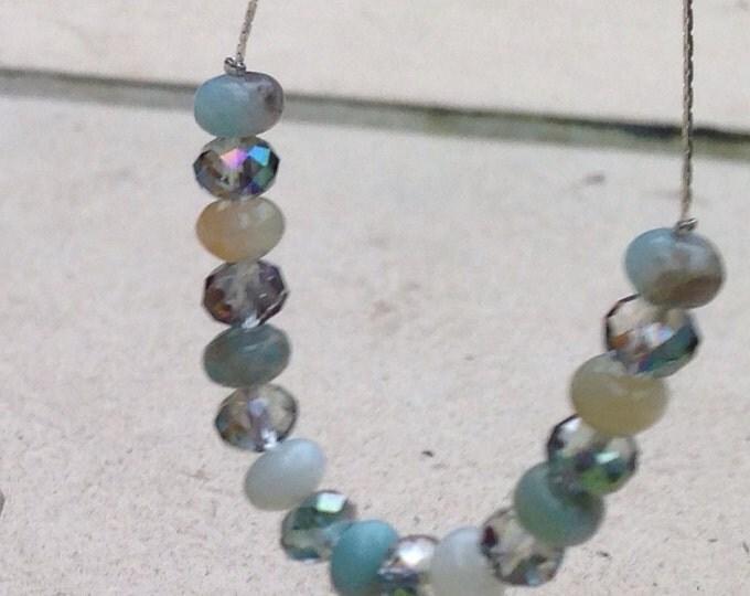 Amazonite Necklace, Swarovski & Amazonite, silver and Amazonite jewellery, amazonite and crystal necklace, sterling silver necklace