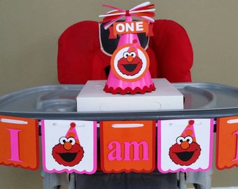 Girl Elmo High Chair Banner, Girl Elmo I am 1 Banner, Girl Elmo I am 1, Girl Elmo, Girl Elmo Banner, Girl Elmo Birthday