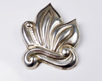 Vintage Taxco Mexican Sterling Silver 925 Leaf Pin Brooch Mexico Signed Scroll LARGE Bold