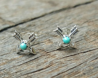 Crossed  Arrows Turquoise Studs