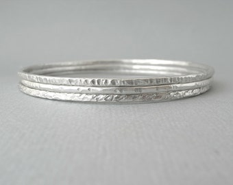 Sterling Silver Bracelet, Bangle. Stackable bangles set of 3. Textured.