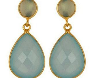 14K gold vermeil faceted aqua blue green chalcedony teardrop dangle drop earrings