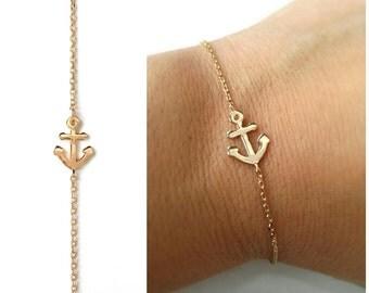 Bracelet gold-plated 750/000, anchor pendant anchor marine gold, gold - plated 18 k - Navy anchor 750 gold plated bangle gold