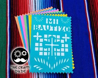 My baptism invitation / Mi bautizo invitacion / papel picado invitation / papel picado invite / mexican invite / fiesta invite