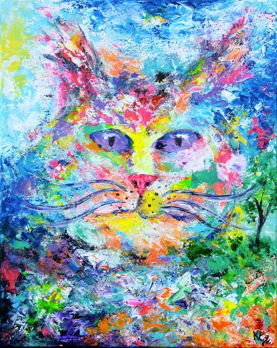 "Abstract Cat Painting ""Cat Yearning for the Outdoors"" - Psychedelic Art, Cats Decor, Abstract Kitty Art, Boho Decor, Boho Wall Art."