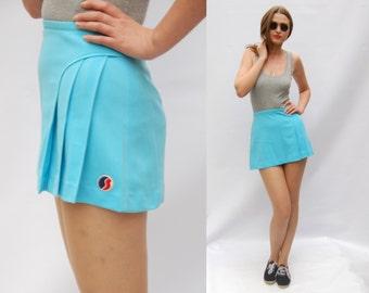 Vintage 90s Pepsi Light Blue Pleated Mini Women Tennis skirt / Summer 1990s Sports Clothing / Vintage sportswear/ Tennis outfit Activewear L