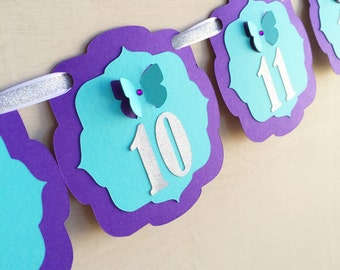 First year photo banner - Shabby chic birthday - butterfly Party aqua and purple - Month banner - Purple and Teal Banner - Butterfly party