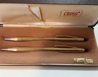 "Vintage ""Network 90"" Cross Pen And Pencil Set 10K Gold Filled In Original Box"