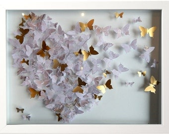 3d butterfly heart picture,gold and browns hand crafted made with lots of 3d butterflies