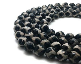 10mm Natural Tibetan Agate Dzi Beads Faceted White Black Round 10mm Agate Dzi 10mm Gemstone Dzi Gemstone Tibetan Stone Faceted Gemstone Mala