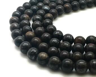 8mm Natural Bronzite Beads Round 8mm Bronzite 8mm Bronzite Beads Bronzite Gemstone Bronzite Stone Brown Beads Round 8mm Beads