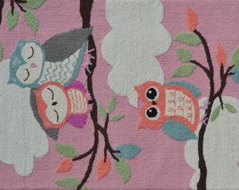 "71220B- Owl on a Limb Pink- (Size = 2'8"" x 4'8"")"