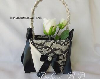 Flower girl basket, Champagne and Black flower girl basket, Beaded flower girl basket, Black lace flower girl basket, Wedding basket
