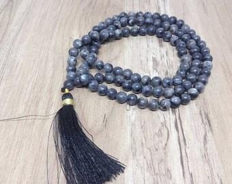 One (1) Natural 6mm BLACK WHITE LABRADORITE Mala with 108 Prayer Beads Black White Labradorite Jap Mala Prayer Mala Labradorite Necklace