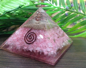 One (1) Rose Quartz Orgone Pyramid  with crystal point  pencil for Orgone Healing Reiki Healing Chakra Balancing Orgone Energy ~ ORG14