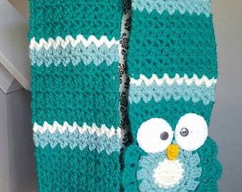 WINTER CLEARANCE 50% OFF - Crochet Owl Scarf - Crochet Scarf