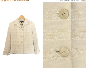 ON SALE Vintage beige blazer. Oatmeal jacket. Blazer jacket. Womens jacket. Made in Canada.