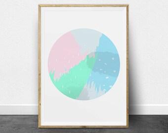 Abstract Art, Circle Print, Printable Art, Mint, Green, Blue, Pink, Gray, Pastels, Paint, Digital, Dots, Rain, Colorful, Printable Wall Art