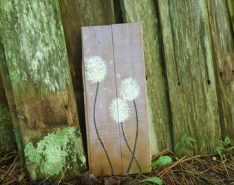 Rustic Dandelion sign - Reclaimed Wood Sign, Hand-Painted Wood Sign, Rustic Wall Art, Fuzzy Dandelion, Purple