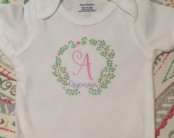 Initial onesie with name