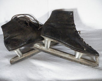 Vintage Ice Skates, Hockey Blade, Leather Top, Winter Sports