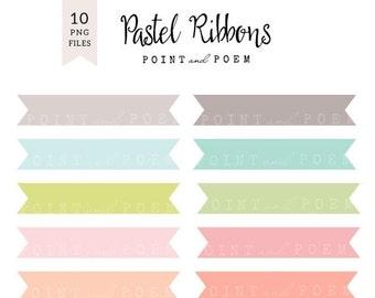 50% OFF SALE Ribbon Clipart Rainbow Banner Clip art Labels Pastel Ribbons