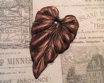 Blackened copper patina brass leaf pendant 2 pc