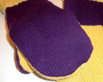 Minnesota Viking Mittens, Up cycled Sweater mittens