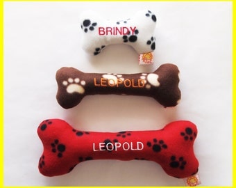 Personalized Dog Toy with Squeakers - Fleece - Dog Paw & Bones Prints - Small, Medium and Large Sizes