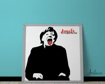 Angela Merkel Digital Art Print - Inspirational Wall Art, Printable Art, Funny Poster Art, Canvas Art, Instant Digital Download
