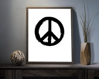 Peace Symbol Digital Art Print - Inspirational World Peace Wall Art, Motivational Peaceful Quote Art, Printable Peace for all Typography