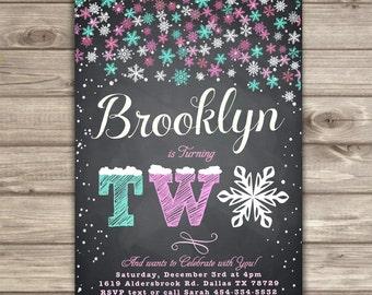 Winter Wonderland Snowflake Birthday Invitations Chalk Board Teal Pink Silver Party girl 2ND Birthday Digital Printable Second NV761
