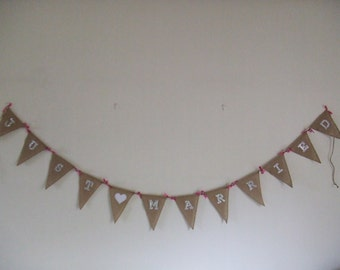 Wedding Bunting, JUST MARRIED Jute and White Diamante Effect, Pink Ribbon and Rosebuds