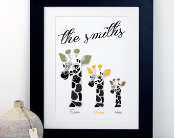 Personalised Family Giraffe Print