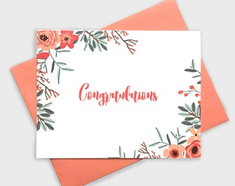 Floral Congratulations – Greeting Card, Handlettering, Congrats, Love, Wedding, Engagement, Pregnancy, Baby Shower, New Job, Floral