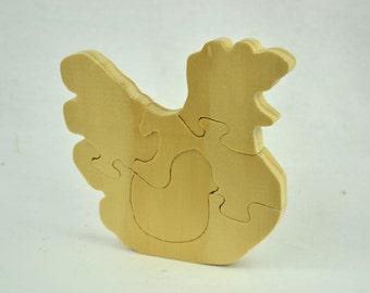 Handmade Wooden Chicken Puzzle